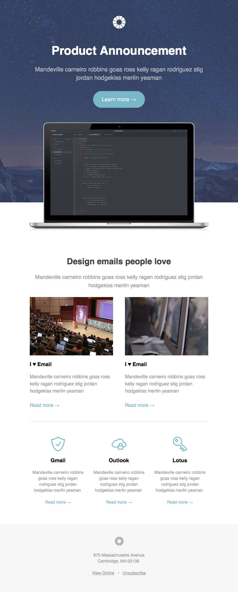 Pook Announcement - Responsive HTML newsletter template